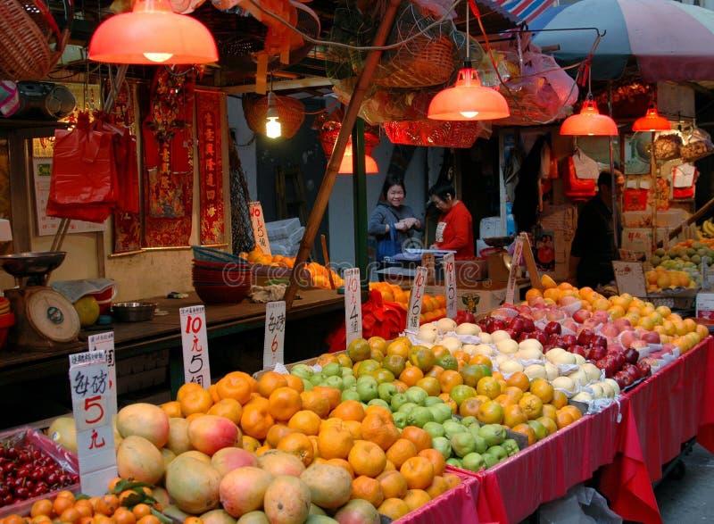 utomhus- gata för gressamHong Kong marknad arkivbilder