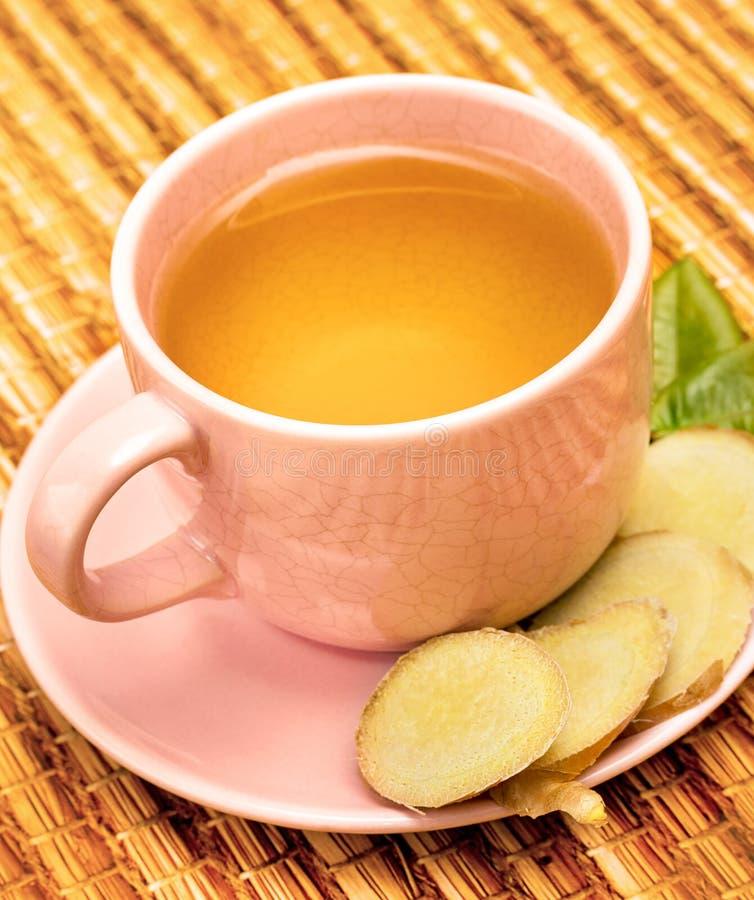 Utomhus- Ginger Tea Means Refreshing Teacup och kryddor royaltyfria bilder