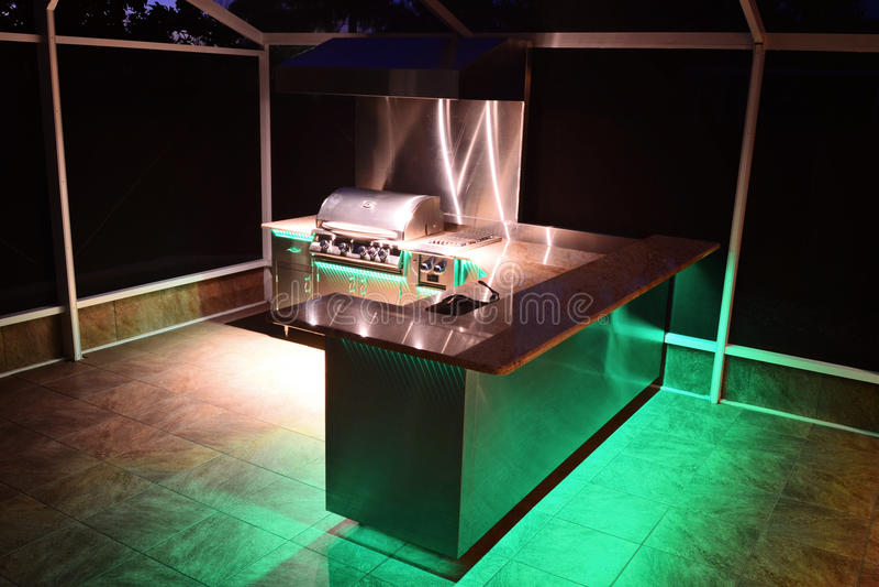 utomhus- gourmet- kök arkivfoto