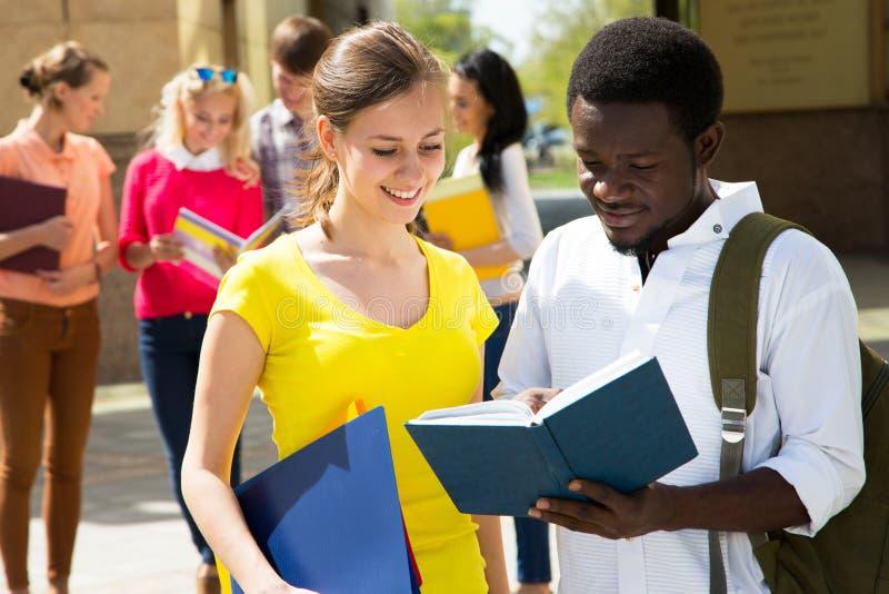 Utomhus- grupp av studenten royaltyfri bild