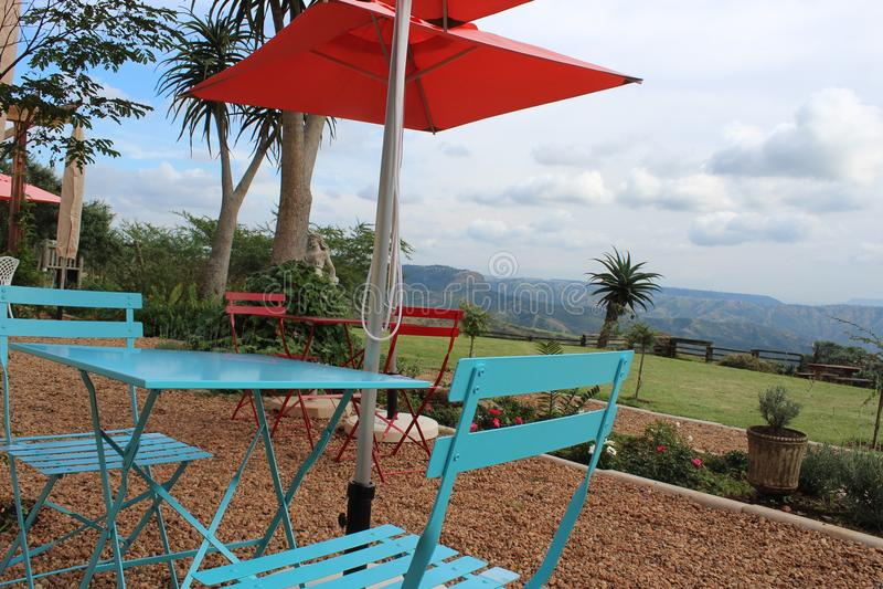 Utomhus- kafé i dalen av 1000 kullar, KZN, Sydafrika royaltyfri foto
