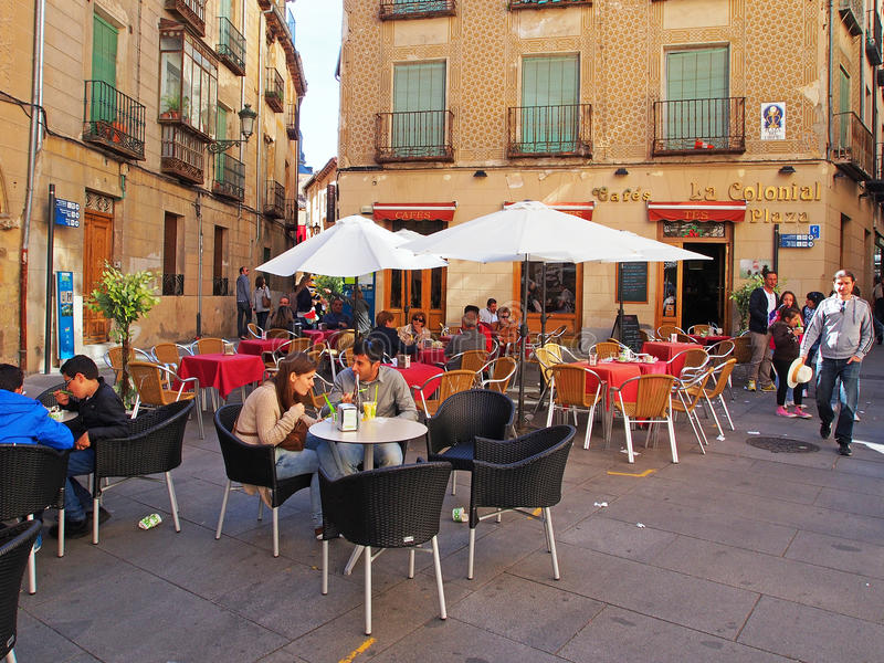 Utomhus- kafé, Spanien royaltyfri foto