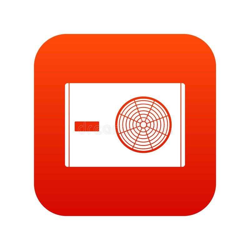 Utomhus- kompressor av digitalt rött för luftkonditioneringsapparatsymbol royaltyfri illustrationer