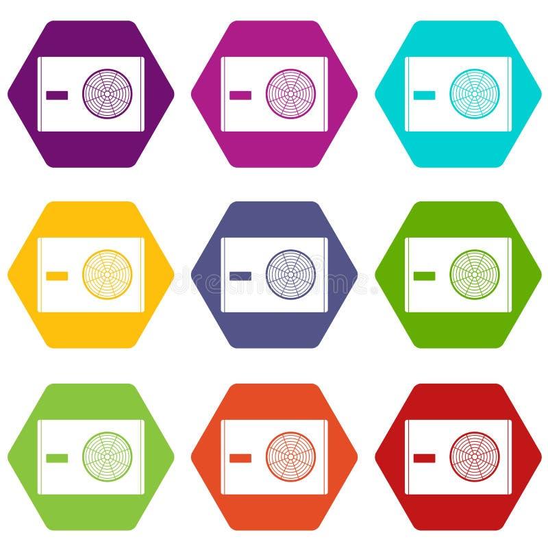 Utomhus- kompressor av hexahedron för färg för luftkonditioneringsapparatsymbolsuppsättning stock illustrationer
