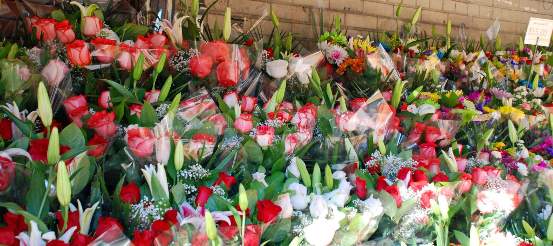 Utomhus- p? en blomsterhandel arkivfoton