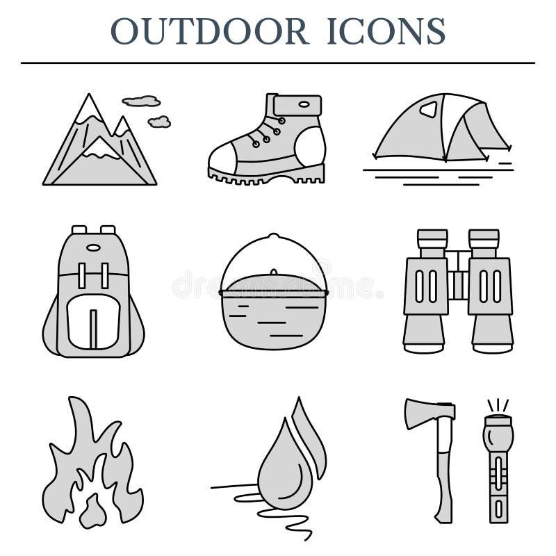 Utomhus- plana symboler Uppsättning av fotvandra och campa översiktssymboler stock illustrationer