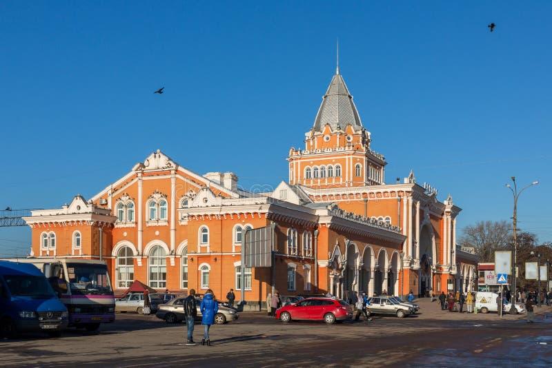 Utomhus- sikt för Chernihiv järnvägsstation fotografering för bildbyråer