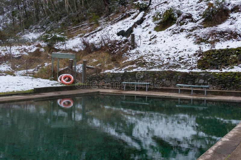 Utomhus- simbassäng med vinterlandskap och snö fotografering för bildbyråer