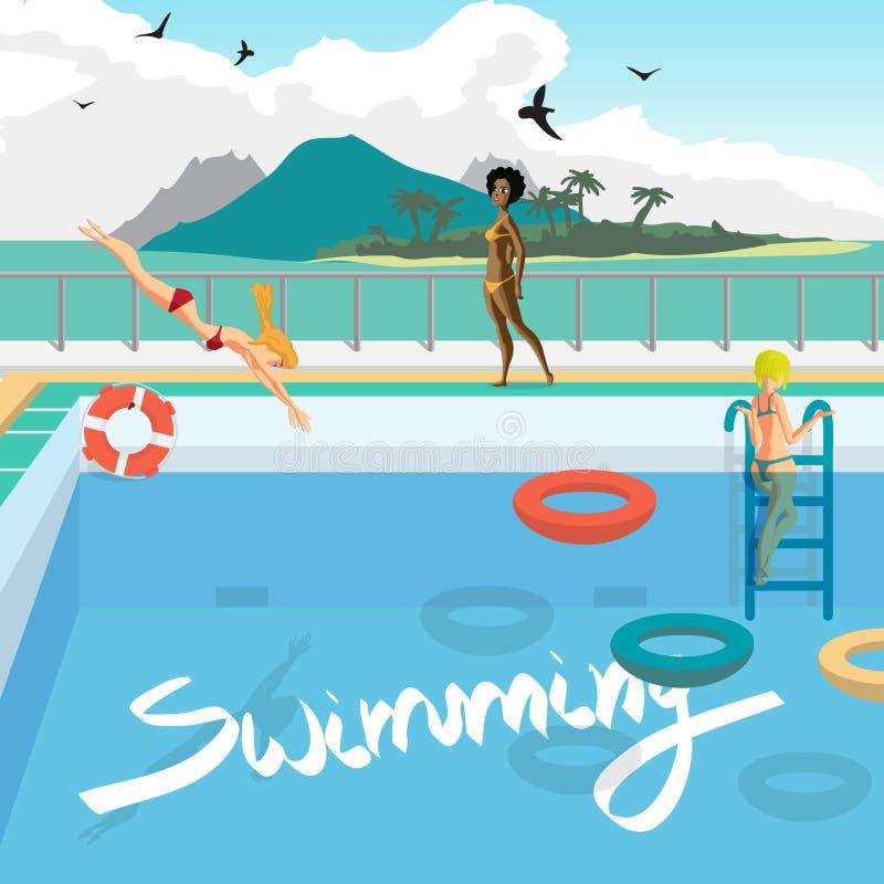 Utomhus- simbassäng på stranden i vändkretsarna vektor illustrationer