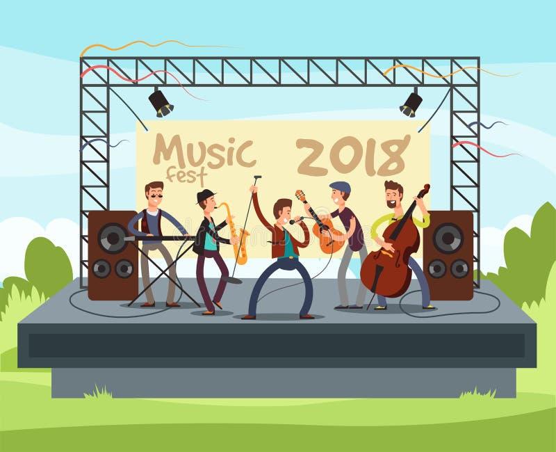 Utomhus- sommarfestivalkonsert med popmusikmusikbandet som spelar musik som är utomhus- på etappvektorillustration vektor illustrationer