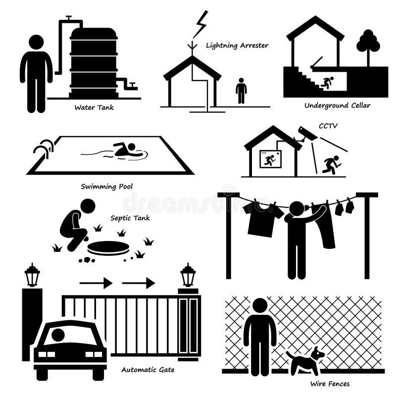 Utomhus- strukturinfrastruktur och fasta tillbehör Cliparts för hem- hus vektor illustrationer