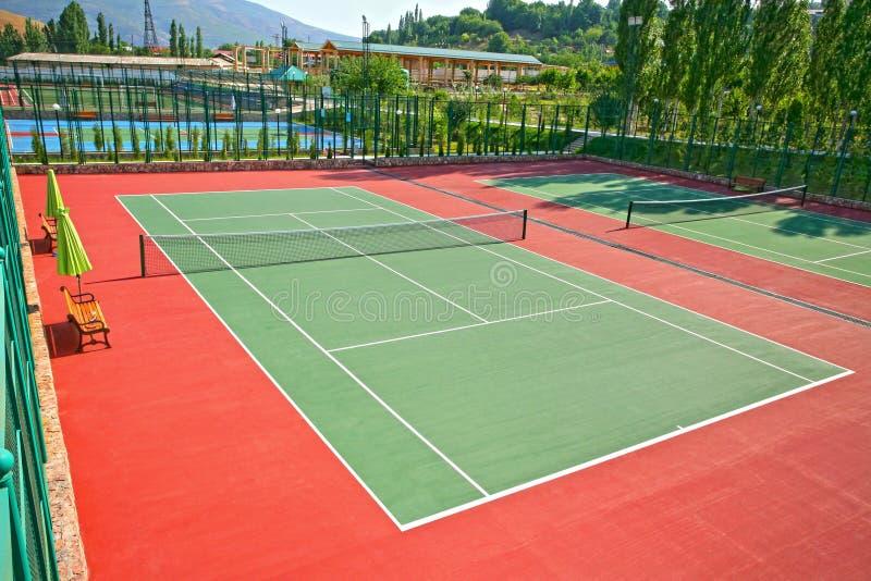 utomhus- tennis för domstol royaltyfria foton