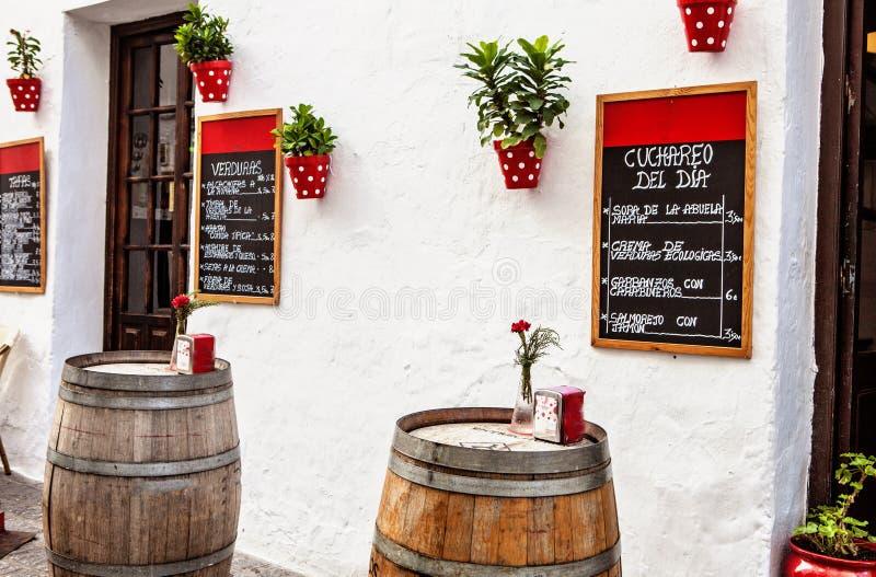 Utomhus- terrass i andalusia fotografering för bildbyråer