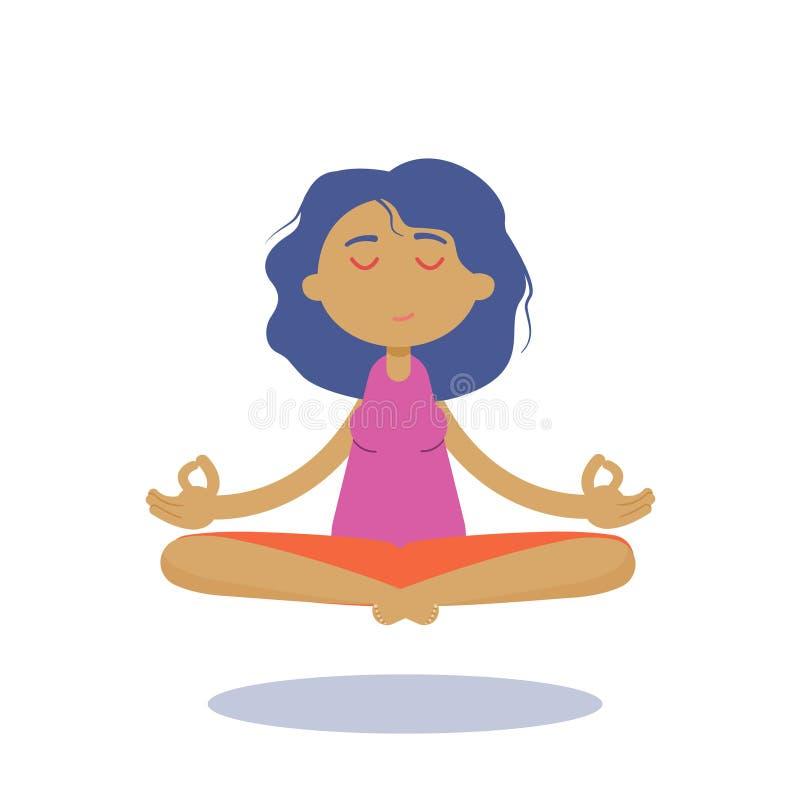Utomhus- yoga Härlig ung yoga och meditera för ung kvinna för teckentecknad film praktiserande stock illustrationer