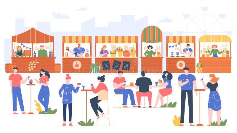 Utomhusmatfest Människor i snabbmatskafett, besöka park med familj och vänner Tecken som äter i gatukafé stock illustrationer