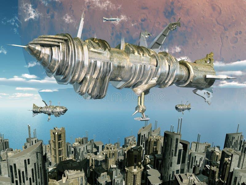 Utomjordisk civilisation vektor illustrationer