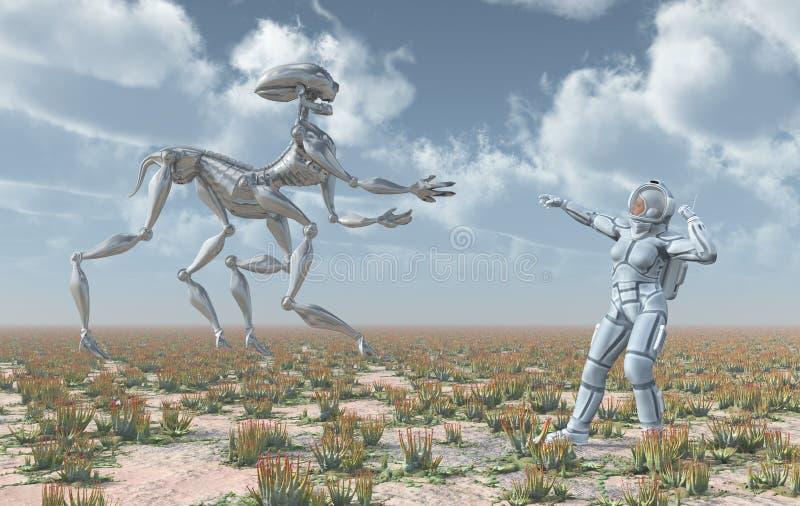 Utomjordisk liv- och kvinnligastronaut stock illustrationer