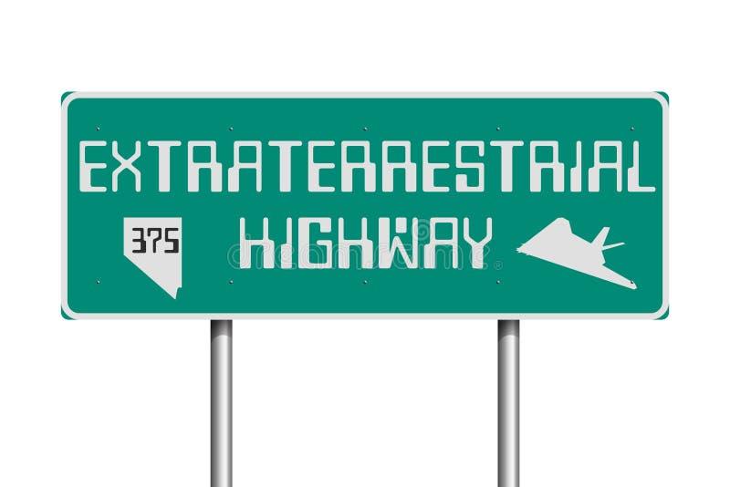 Utomjordiskt huvudvägvägmärke stock illustrationer