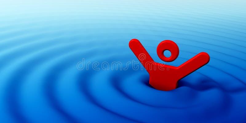 utopić człowieka ilustracji