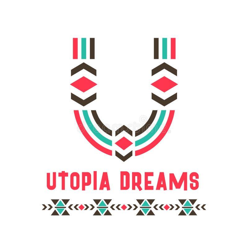 Utopi drömmer logo royaltyfri illustrationer