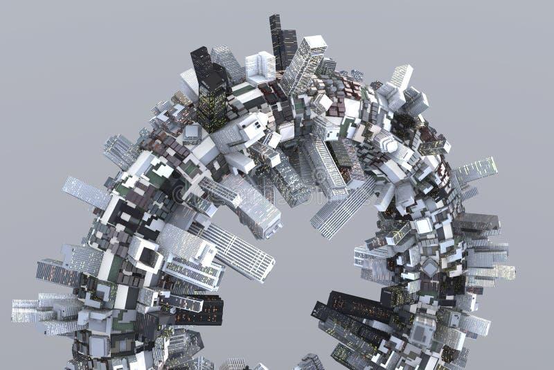 Utopian stad van de toekomst royalty-vrije illustratie