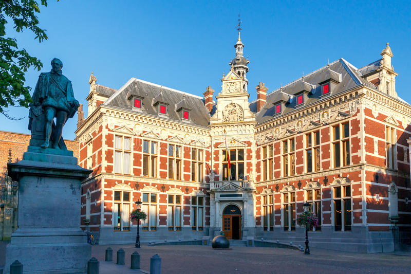 Utrecht. City University. Facade of the University buildings on the central square in Utrecht. Holland stock photos