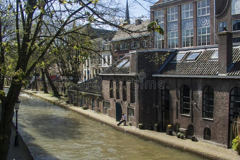 utrecht kanal holland arkivfoto