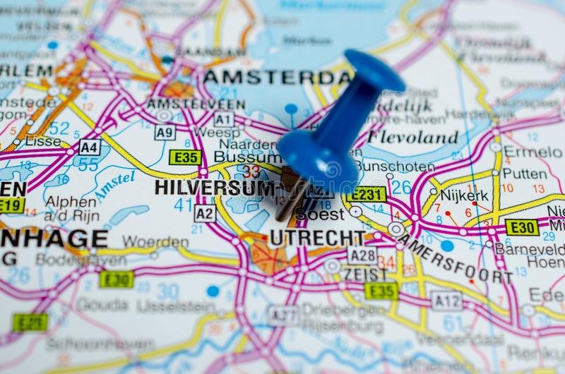 Utrecht on map. Macro shot of Utrecht on map with push pin stock photos