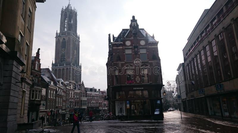 Utrecht - Nederländerna - vinter arkivbild