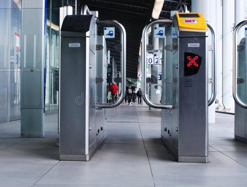 Utrecht, the Netherlands, February 15, 2019: frontview of check in and check out gates of the NS utrecht central station stock photos