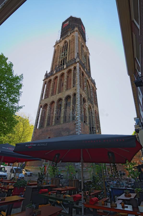 Ancient Tower of the St. Martins Cathedral at sunny day. The Dom Tower is the tallest church tower of The Netherlands. royalty free stock photo