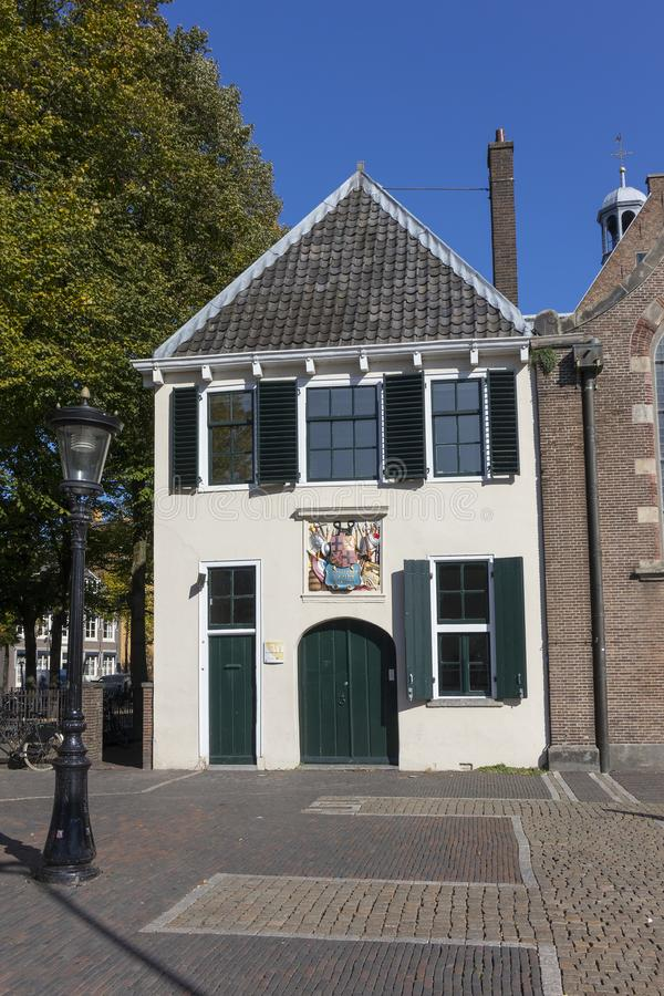 Utrecht, Netherlands - September 27, 2018: Monumental historical. House at Janskerkhof with the devise, Concordia res parvae crescunt, in the coat of arms of stock photos