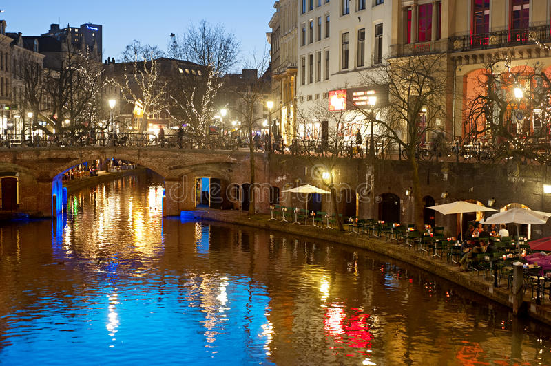 Utrecht Old Town. View of an Old Town of Utrecht in the evening. Holland royalty free stock photo