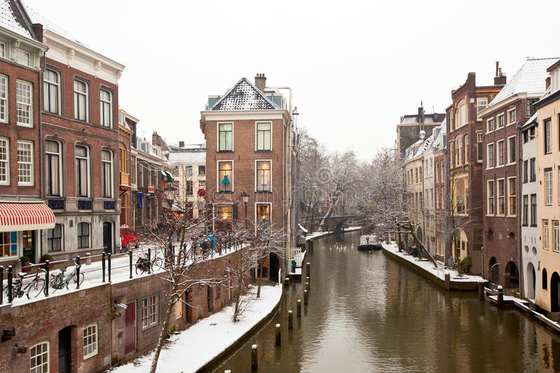 Utrecht Winter view. Canal in Utrecht, Netherlands. Old Dutch houses along the canal stock image