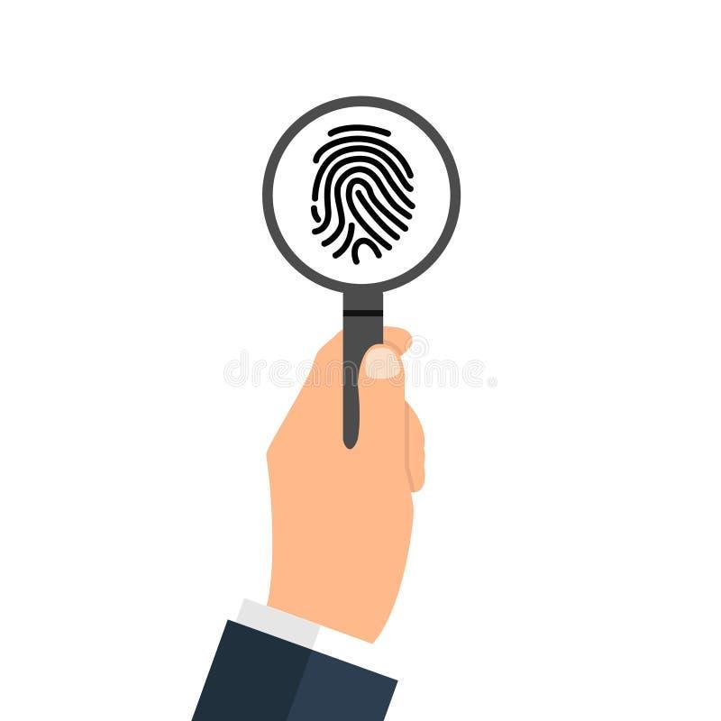 Utredning av tummetryck vid förstoringsloupen Tecken för personlig identitet, detektiv- forskningbegrepp Identifiera med fingerav vektor illustrationer