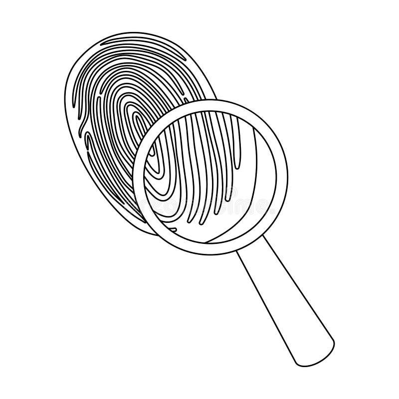 Utredning vid fingeravtryckförstoringsapparaten, brott Loupen är ett detektiv- hjälpmedel, enkel symbol i symbol för översiktssti stock illustrationer