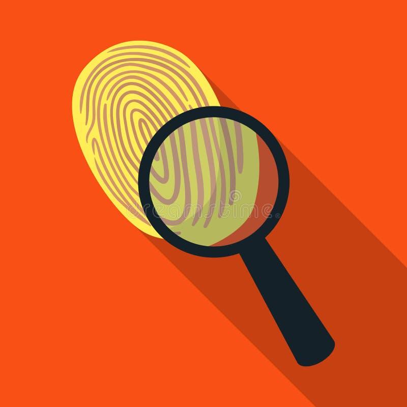 Utredning vid fingeravtryckförstoringsapparaten, brott Loupen är ett detektiv- hjälpmedel, enkel symbol i plant materiel för stil stock illustrationer