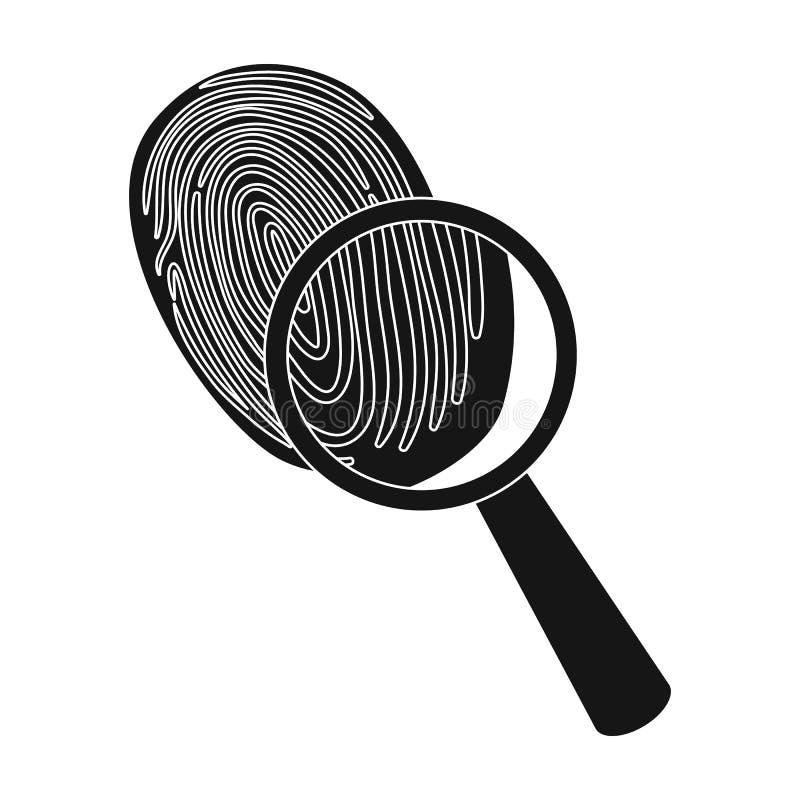 Utredning vid fingeravtryckförstoringsapparaten, brott Loupen är ett detektiv- hjälpmedel, enkel symbol i svart materiel för stil stock illustrationer