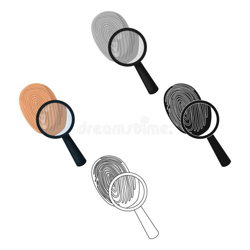 Utredning vid fingeravtryckf?rstoringsapparaten, brott Loupen är ett detektiv- hjälpmedel, enkel symbol i tecknade filmen, svart  stock illustrationer