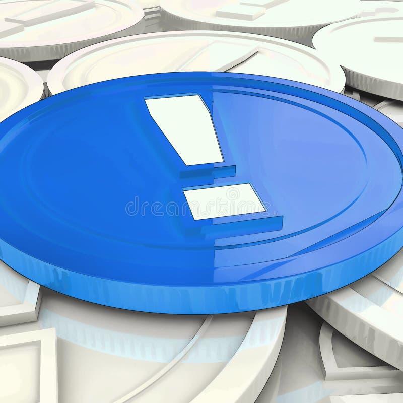 Utrop Mark Coin Shows Financial Shock eller faror stock illustrationer