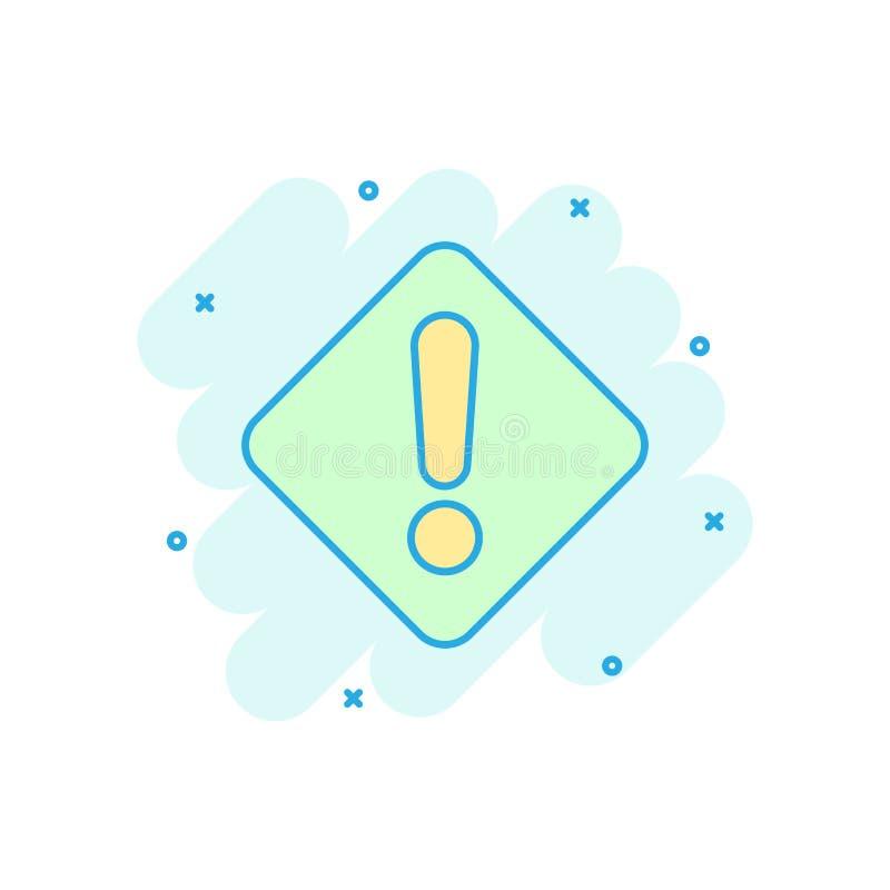 Utropsteckensymbol i komisk stil Pictogram för illustration för tecknad film för faralarmvektor Färgstänk för varningsriskaffärsi stock illustrationer