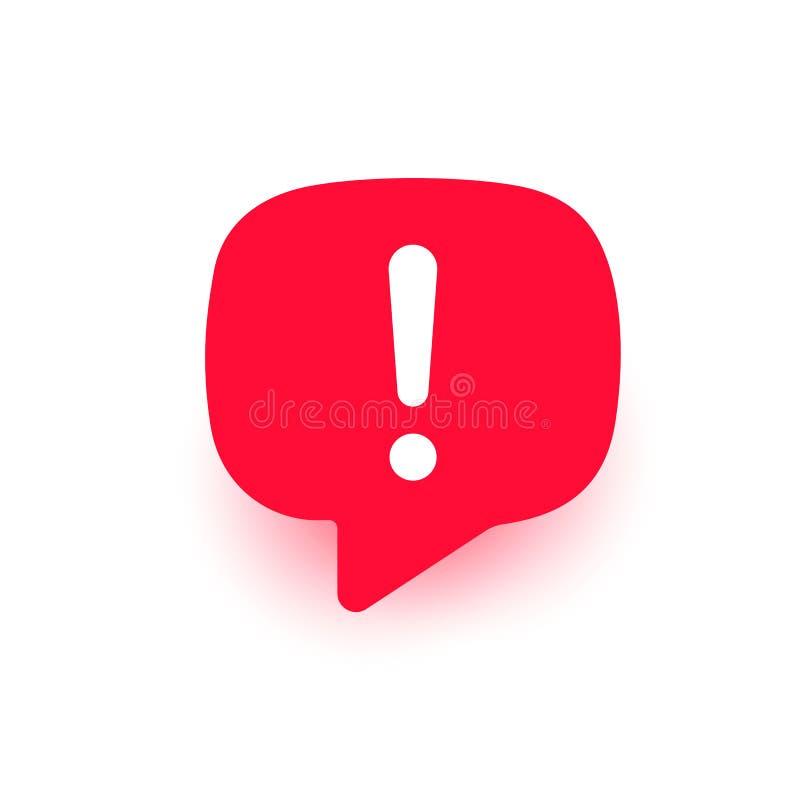 Utropvektorsymbol, viktig fläck, bubbla för anförande för uppmärksamhetlogovarning, röd teckenillustration med skugga som isolera royaltyfri illustrationer