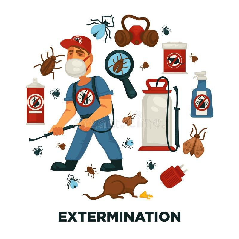 Utrotning eller mall för affisch för information om företag för plågakontrollservice för sanitär inhemsk desinficering vektor illustrationer