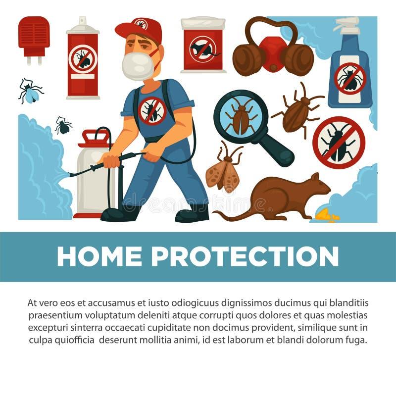 Utrotningen eller plågakontrollservice och den sanitära inhemska desinficeringvektorlägenheten planlägger affischen vektor illustrationer