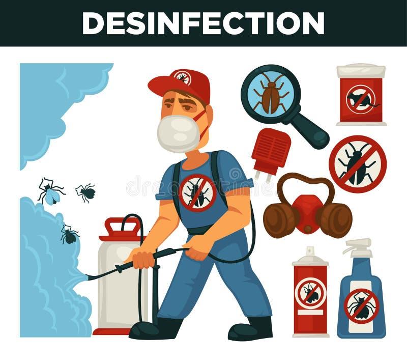 Utrotningen eller plågakontrollservice och den sanitära inhemska desinficeringvektorlägenheten planlägger affischen stock illustrationer