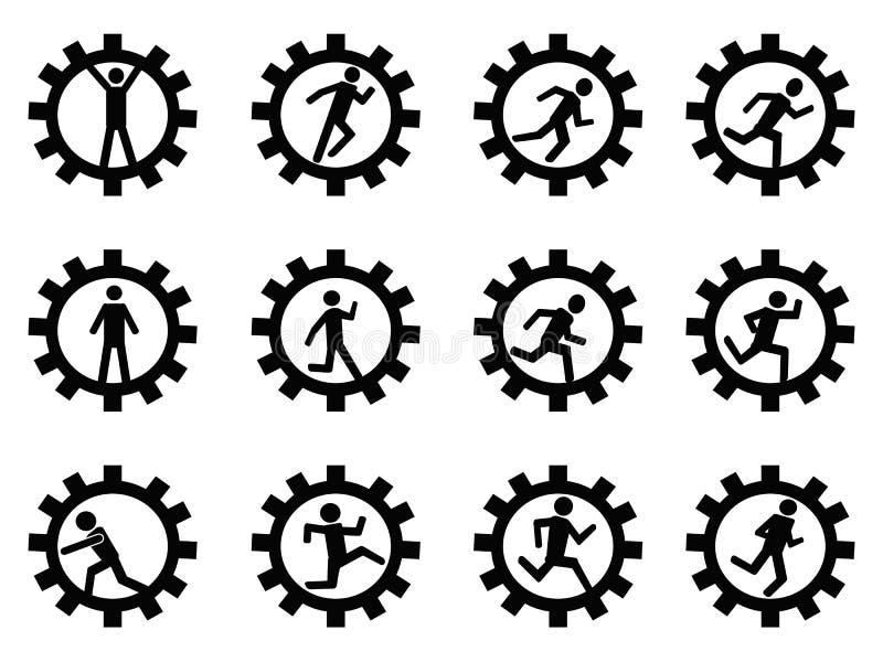 Utrusta mansymbolet stock illustrationer