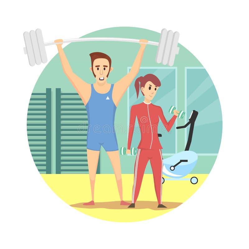 Utrustar den bärande sporten för den muskulösa mannen och för den sunda sexiga kvinnan i idrottshallen vektor illustrationer
