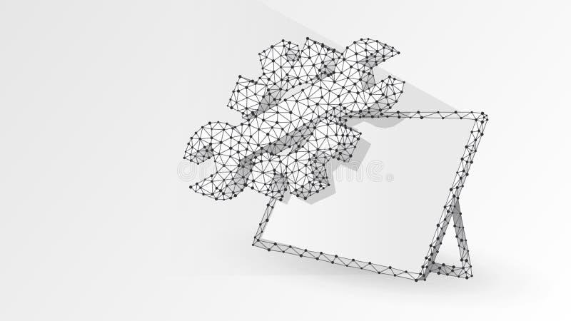 Utrustar den justerbara skiftnyckeln på den grafiska minnestavlan Bransch aff?rsteknologi, inst?llningsbegrepp Abstrakt digitalt, vektor illustrationer