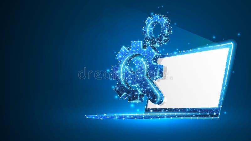 Utrustar den justerbara skiftnyckeln på den vita bärbar datorskärmen Bransch affärsteknologi, inställningsbegrepp Abstrakt digita royaltyfri illustrationer