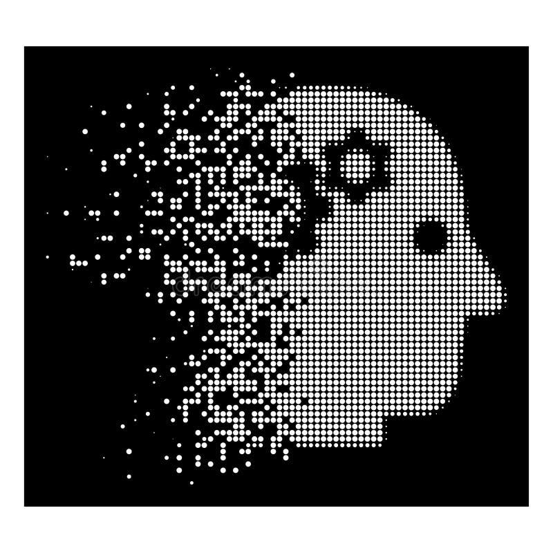 Utrustar försvinnande prickigt rastrerat intellekt för vit symbolen vektor illustrationer